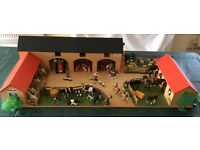 Lovely Wooden Farm with many accessories plus a Plastic Stable Set