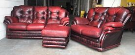 Thomas Lloyd Ox blood red leather Chesterfield sofa set WE DELIVER UK WIDE