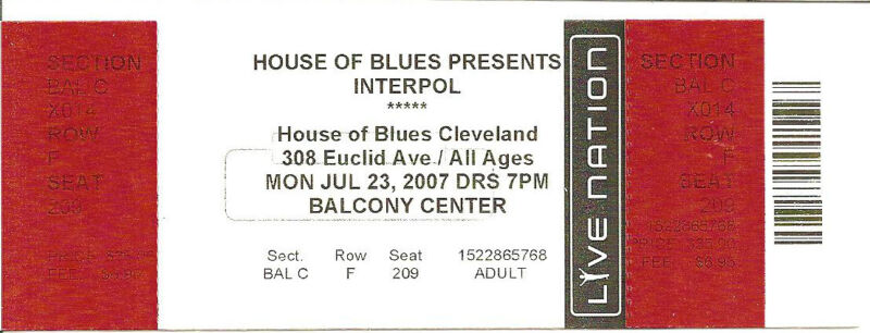 JULY 23 2007 INTERPOL CLEVELAND HOB UNUSED TICKET STUB