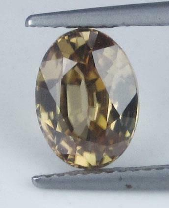 3.17CTS NATURAL BROWN ZIRCON OVAL SHAPE YELLOW COLOR LOOSE GEMSTONE FROM CEYLON