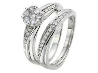 9ct White gold 1/2 carat diamond cluster ring and 2 matching .08 carat bands, all fit together