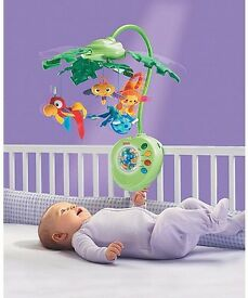 Fisher-Price Rainforest Peek-A-Boo Leaves Musical Crib Mobile Jungle Animals