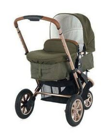 Dark green mother care pram