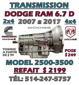 TRANSMISSION DODGE RAM 6.7 DIESEL AUTOMATIQUE 2500-3500