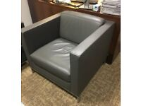 Walter Knoll Foster 500 grey leather sofa and armchair