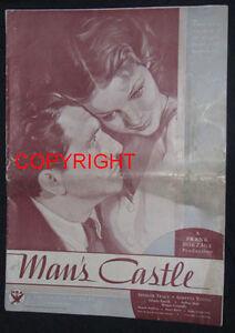 MAN'S CASTLE 1933 ORIGINAL PRESSBK TRACY YOUNG BORZAGE