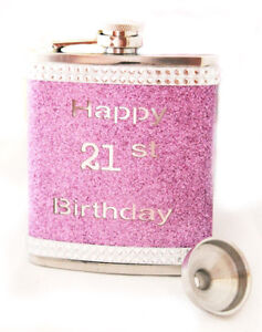 Lady Pink HAPPY 21st BIRTHDAY HIP FLASK Gift Set FREE ENRAVING - Stanless Steel