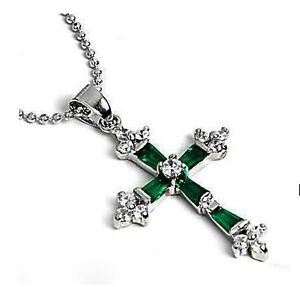 Jewellery Silver Green jade Crystal Cross Pendant