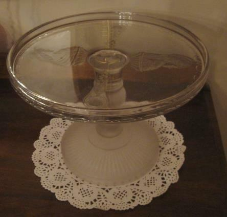 Antique EAPG Pressed Glass Actress Pattern Frosted Pedestal Footed Cake Stand