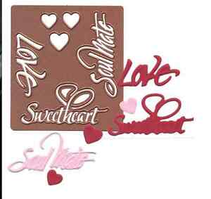 Spellbinders Shapeabilities LOVE SENTIMENTS metal dies - $15