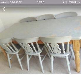 Shabby dinning room set 6 seats