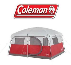 """USED COLEMAN 7 PERSON CABIN TENT RED WILLOW - 12' x 10' - 6' 9"""""""" center height OUTDOOR RECREATION CAMPING HIKING"""