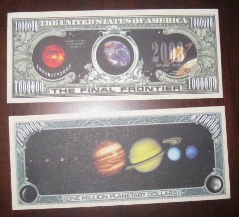 The Final Frontier Full Color Love 4 Planet Dollar Bill IN HARD CASE Collectable