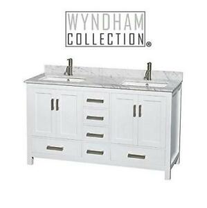 "NEW* WYNDHAM VANITY 60"" WCS141460DWHCMUNSMXX 214741152 SHEFFIELD DOUBLE VANITY WHITE BATHROOM"