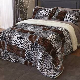 Plush Animal print bed set to fit double or queen size bed Canada Bay Canada Bay Area Preview