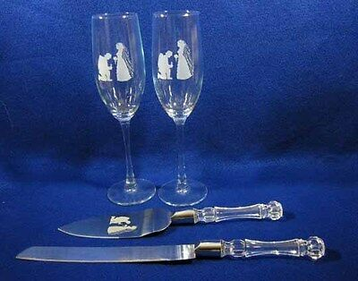 Firefighter Wedding Glasses Flutes & Knife Set Engraved Personalized FREE New  - Engraved Wedding Flutes