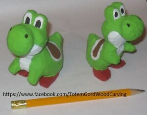 Yoshi hand carved and hand painted from Mario Game
