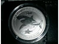 Solid silver Uncirculated Great White Shark coin.