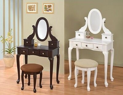 Wooden 5-Drawer Vanity Set in White/Espresso W/ ...