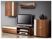 BRAND NEW FORTE Modern Living Room Furniture Set TV 4 Unit Cabinet Stand Cupboard Wall DELIVERY