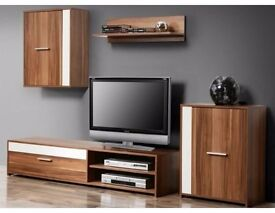 BRAND NEW FORTE Modern Living Room Furniture Set TV 4 Unit Cabinet Stand Cupboard Wall FREE DELIVERY