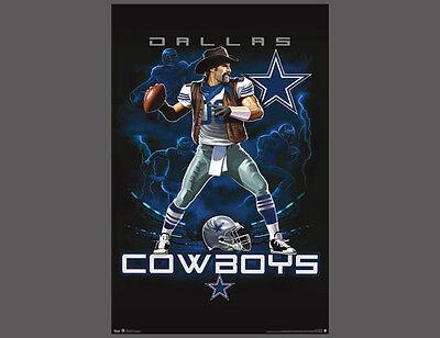 Rare Dallas Cowboys ON FIRE Gunslinging Cowboy Quarterback Theme Art POSTER - Dallas Cowboys Theme