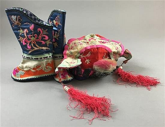 CHINA - SILK EMBROIDERED CEREMONIAL HAT - APPLIED METAL ANCESTORS & BOOTS