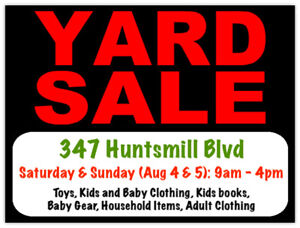Aug 4 and Aug 5 Yard Sale (Warden/ Steeles)