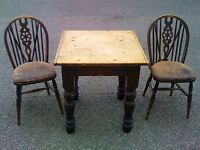 Vintage Dining Table and Two Chairs