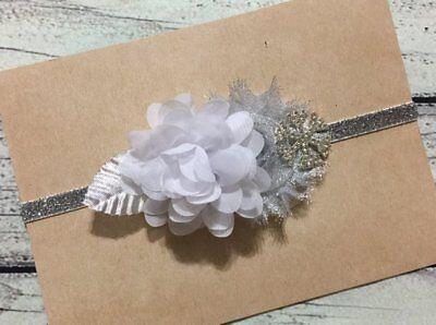 White and Silver Christmas Holiday Snowflake winter Glitter Baby/ Girl Headband - Snowflake Headbands