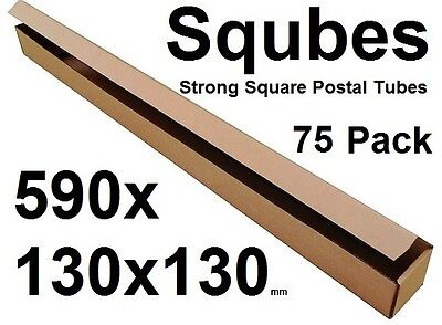 Square Cardboard Postal Tube Box - 3mm Thick Corrugated - 59x13x13cm - 75PK