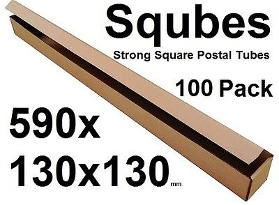 Square Cardboard Postal Tube Box - 3mm Thick Corrugated - 59x13x13cm - 100PK