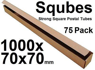 Square Cardboard Postal Tube Box - 3mm Thick Corrugated - 100x7x7cm - 75PK
