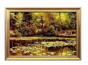 European 60*90CM Golden Frame Scenery Pattern Modern Art Handmade Oil Painting