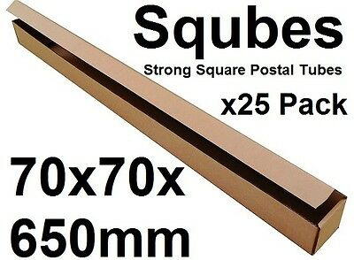 Square Cardboard Postal Tube Box - 3mm Thick Corrugated - 7x7x65cm - 25PK