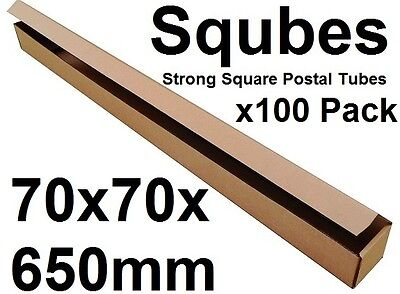 Square Cardboard Postal Tube Box - 3mm Thick Corrugated - 7x7x65cm - 100PK