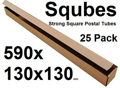 Square Cardboard Postal Tube Box - 3mm Thick Corrugated - 59x13x13cm - 25PK