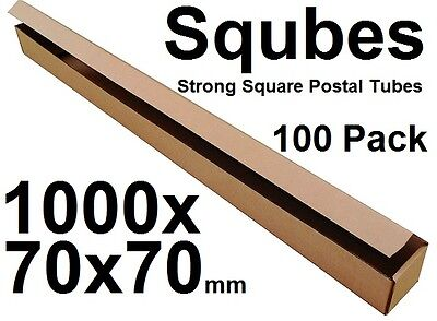 Square Cardboard Postal Tube Box - 3mm Thick Corrugated - 100x7x7cm - 100PK