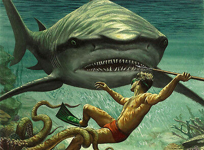 """SHARK ATTACK Painting Giclee Canvas 16""""x20"""" with Mat Frame. Ocean Diver"""