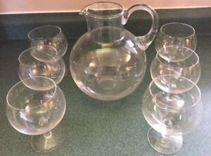 Tiffany Glass Water Pitcher and Goblets for Sale