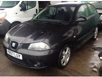 SEAT IBIZA 1390cc SPORT 3 DOOR HATCH 2007-57, BLACK, LOOK ONLY 65K FROM NEW