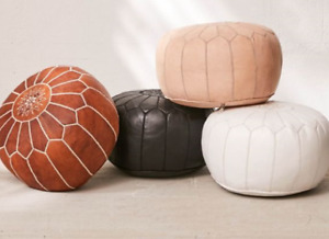 Traditional Leather Floor Soft seating stool (pouff) for Sale