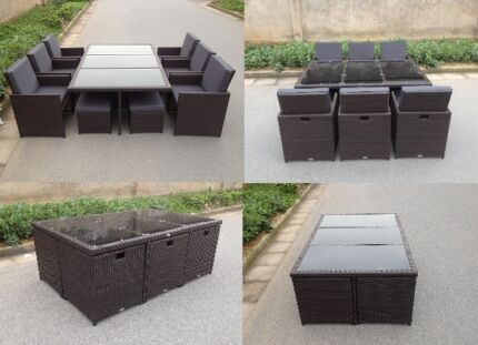 OUTDOOR premium quality 11PC 10 seat dining set CUBE FOLD AWAY