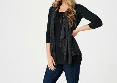 A269657 LOGO by Lori Goldstein Sweater Knit Vest with Knit Top Twin Set(353-354) Vest Twin Set