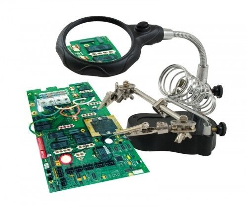 LED Light Up 3rd Helping Hand Magnifying Glass Soldering Jewellery Making Tools