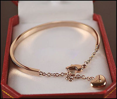 High Quality Rose Gold Crystal Love Heart Charm Stainless Steel Bracelet Bangle