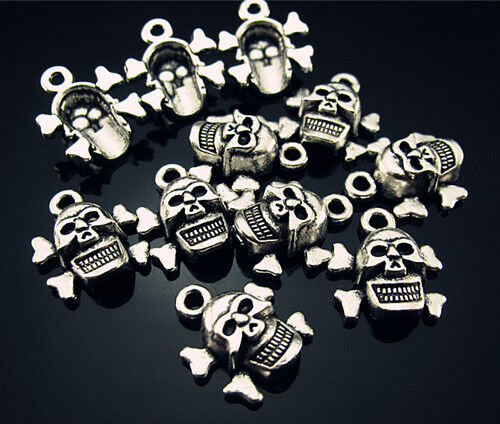 FREE Wholesale Lots 3D Skull head Tibetan silver With ring Pendant Beads 15mm