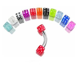 New-Dice-Curve-Barbell-Tragus-Labret-Eyebrow-Bar-1-2mm-x-8mm-Choice-of-Colour