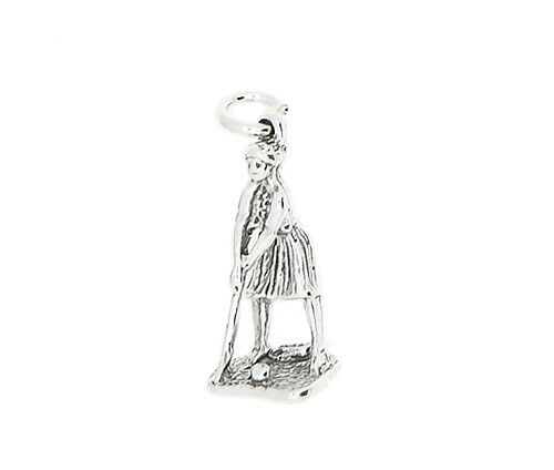 STERLING SILVER 3D FEMALE GOLFER GOLF PLAYER CHARM OR PENDANT