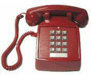 ~NeW Phone RETRO RED PUSH BUTTON DESK TELEPHONE VINTAGE